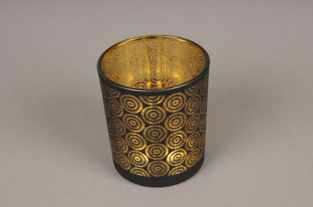 A001P5 Gold and black glass light holder D9cm H10cm
