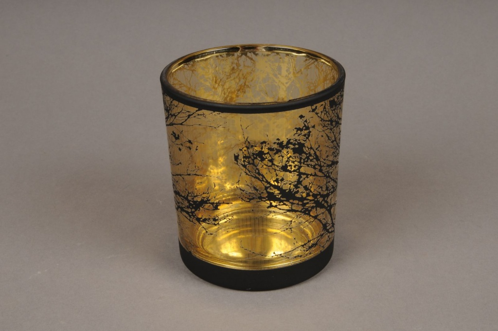 A025P5 Gold and black glass light holder D9cm H10cm