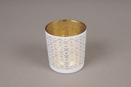A020P5 Gold and white glass light holder D7.5cm H8cm