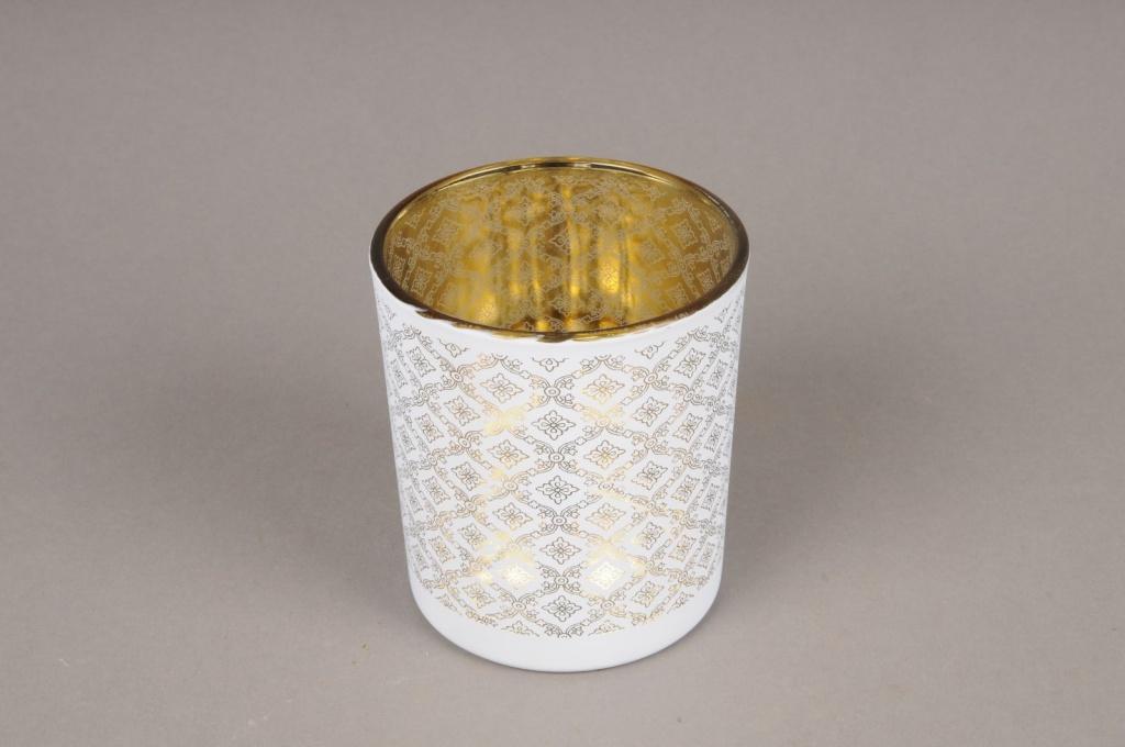 A021P5 Gold and white glass light holder D9cm H10cm