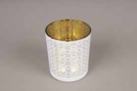 A021P5 Gold and white glass light holder D9cm H10cm