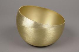 A007I7 Gold brushed metal bowl D13cm H9.5cm