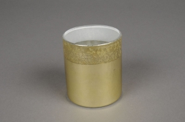 A022K0 Gold glass jar D6.5cm H7.5cm