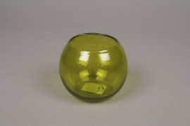 B121LE Green glass bowl light holder D10cm H8cm
