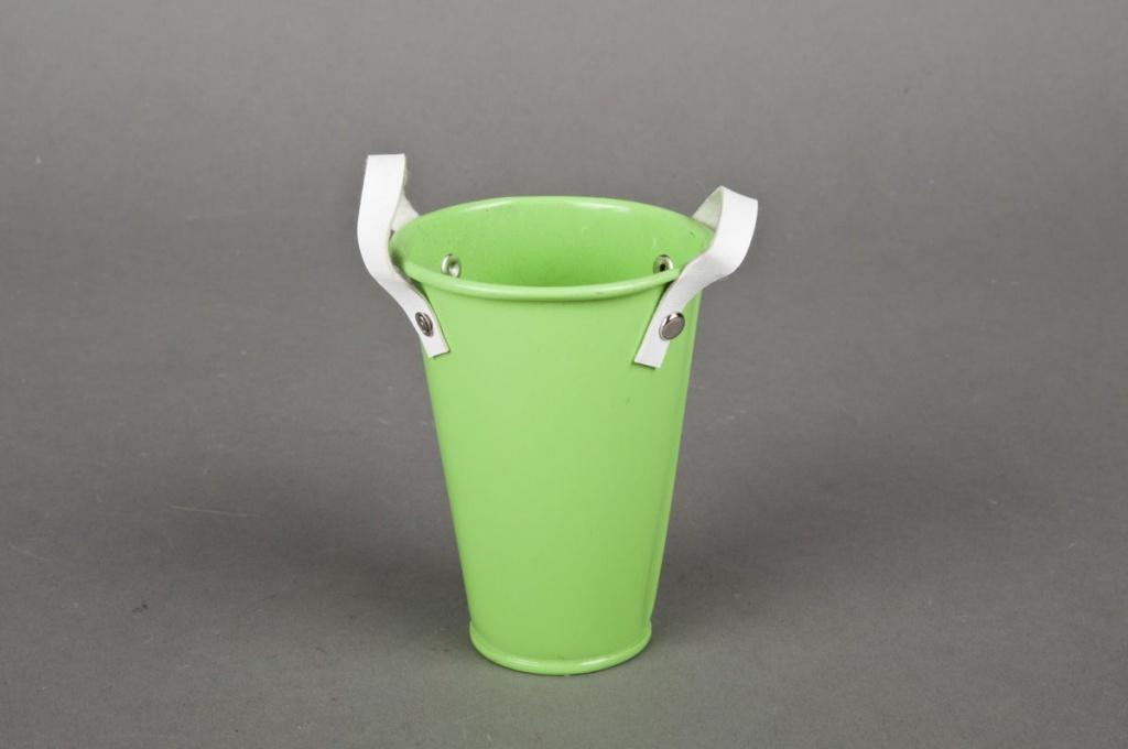 Green planter + gwhite handles D6 H9cm