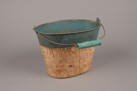 A112DZ Green zinc bucket with cork 15.5cm x 22cm H16.5cm
