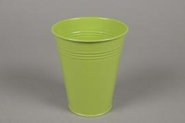 A337KM Green zinc planter D13cm H15cm