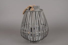 A034AV Grey bamboo lantern with glass D26cm H33cm