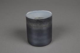 A024K0 Grey glass jar D6.5cm H7.5cm
