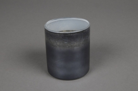 A024K0 Grey glass jar D6.5cm H7.5cm