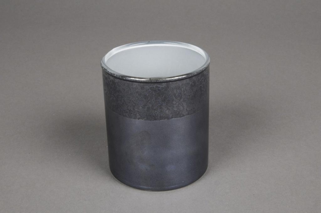 A020K0 Grey glass jar D7.5cm H8.5cm