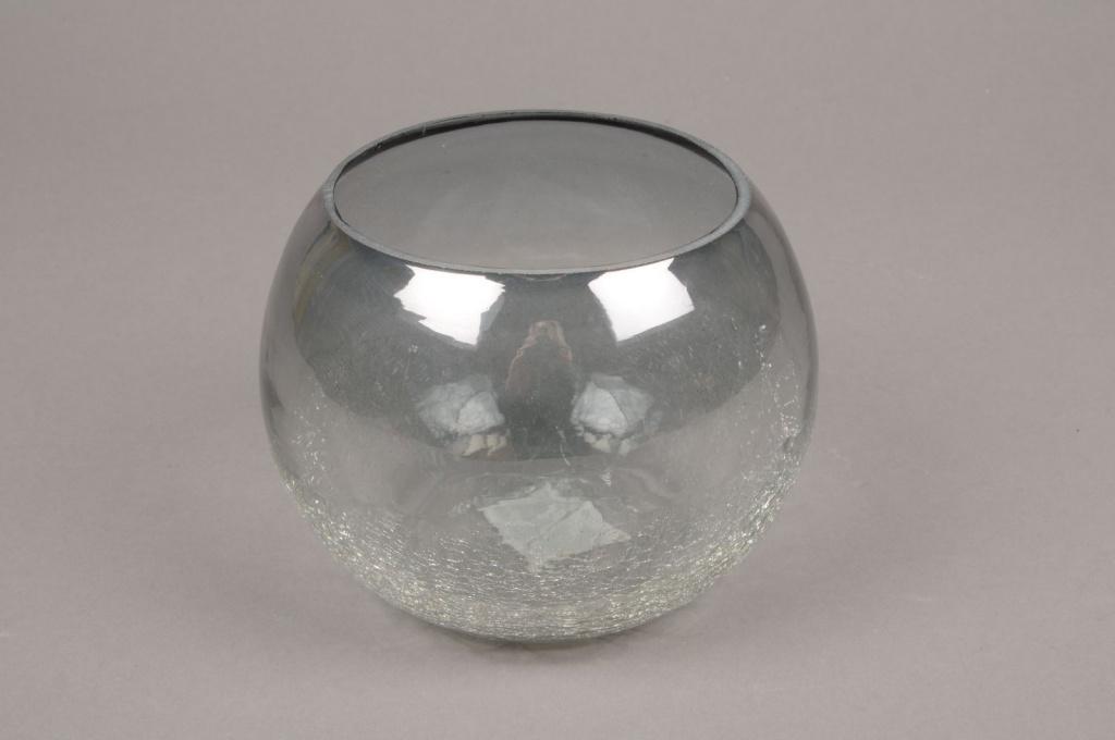 A058ZG Grey glass light holder D14cm H11cm
