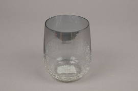 A061ZG Grey glass light holder D8cm H12cm