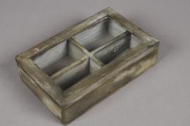 A000AV Grey green wooden box 14 x 22cm H6cm