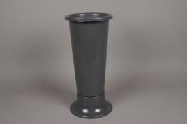 A093T7 Grey plastic vase D14cm H35cm