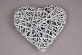 SV05J3 Grey wicker heart D10cm