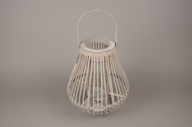 A038AY Grey wooden lantern D29cm H35cm
