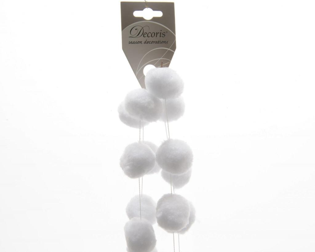 X841KI Guirlande boules de coton blanc D4cm H180cm
