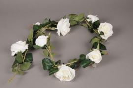 x602nn Guirlande de roses artificielles blanches L145cm