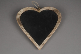 SV03O4 Heart in bark with chalkboard paint hanging D30cm