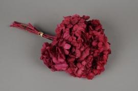 i445ab Hortensia preservé rose H33cm