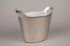 A049BV Jardinière en alumium argent 18cm x  29cm H25cm