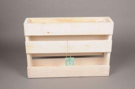 A185HX Jardinière en bois blanchi 12cm x 50cm H35cm
