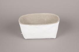 A004H8 Jardinière en céramique blanc 16cm x 28cm H14cm