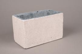 A490QB Jardinière en céramique blanche 13cm x 23.5cm H14.5cm