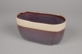 A481QB Jardinière en céramique rouge violet 20 x 10cm H10cm