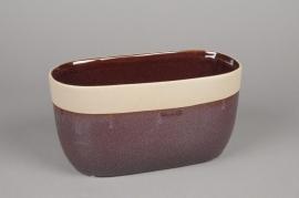 A478QB Jardinière en céramique rouge violet 25 x 13cm H13cm