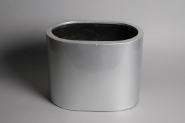 A048TU Jardinière en fibre argent 39x25cm H30cm