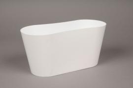 A020R2 Jardinière en plastique blanc 12x27cm H13cm