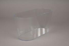 A021R2 Jardinière en plastique transparent 12x27cm H13cm