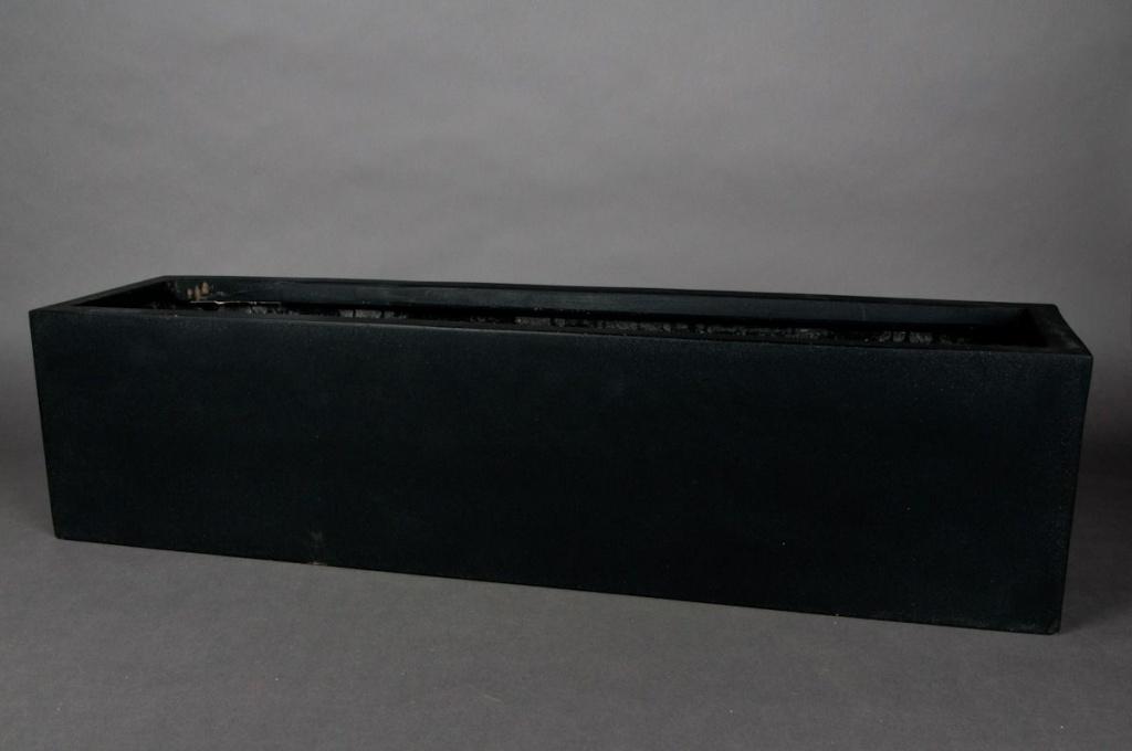Jardinière en polystone noir 80x20x20cm