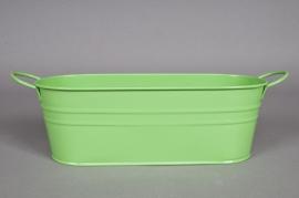 Jardinière en zinc vert amande 27X11 H9cm