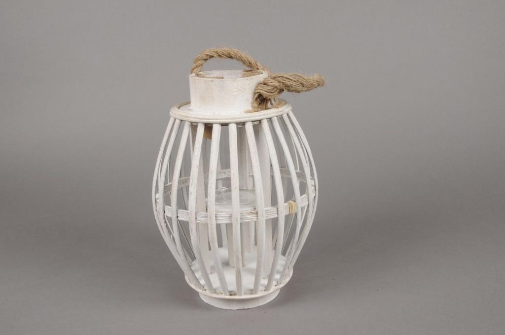 A035AV Lanterne en bambou blanc D19cm H26cm