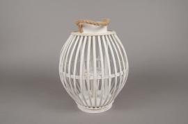 A036AV Lanterne en bambou blanc D26cm H33cm