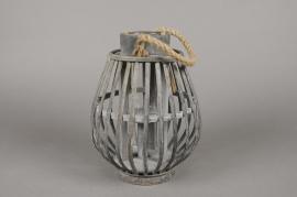 A033AV Lanterne en bambou gris D19cm H26cm
