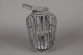 A031AV Lanterne en bambou gris D19cm H29cm