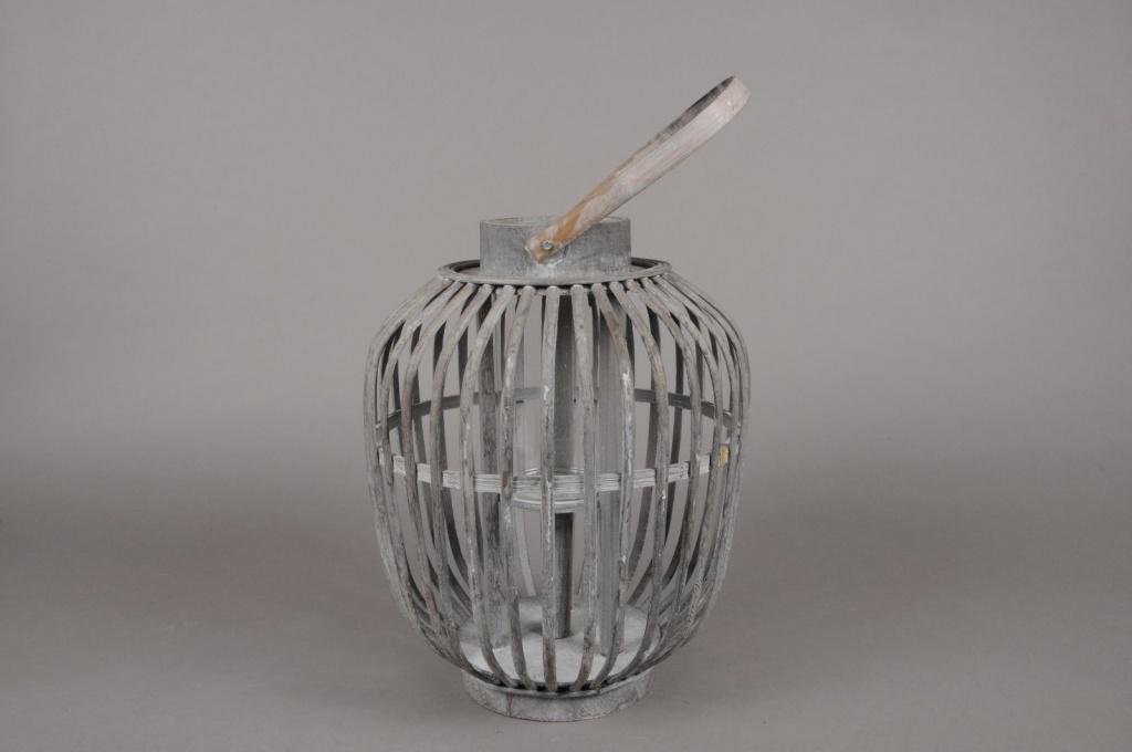 A032AV Lanterne en bambou gris D26cm H33cm