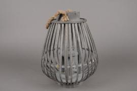 A034AV Lanterne en bambou gris D26cm H33cm