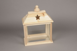 A000RX Wooden lantern with glass 31x 17cm H41cm
