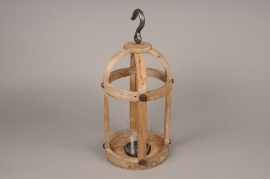 A002S0 Lanterne en bois D20cm H46cm