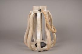 A003S0 Lanterne en bois D36.5cm H49cm