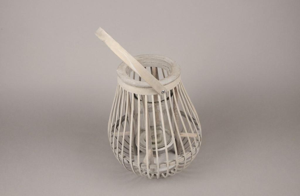 A037AY Lanterne en bois gris D24cm H30cm