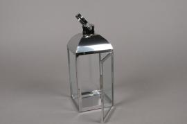 A011BL Lanterne en métal argent 10cm x 10cm H23.5cm