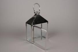 A021BL Lanterne en métal argent 10cm x 20cm H29cm