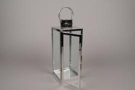 A004BL Lanterne en métal argent 12cm x 22cm H33cm