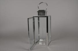 A016BL Lanterne en métal argent 16cm x 16cm H42cm